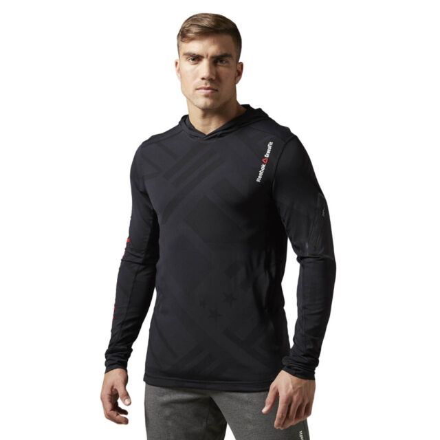 Reebok CROSSFIT CORDURA Jacquard hoodie Men's Training Black Hooded Sweatshirt