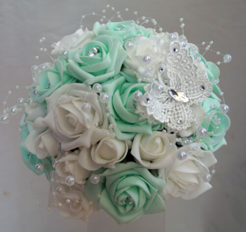 Novias Bridesmaids Dusty Rosa etc.. Varitas Boda Bouquet Flores Verde Menta