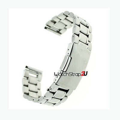 20mm Straight End Stainless Steel Bracelet Watch Band Solid Links Silver