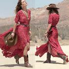 Femmes robe longues bohémien Chiffon fleuri Robe Maxi dress manches demies