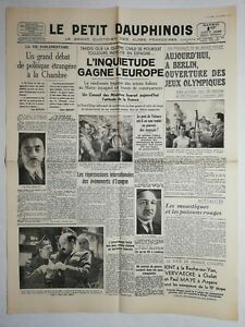 N1070-La-Une-Du-Journal-Le-petit-dauphinois-1-aout-1936-l-039-inquietude-Europe