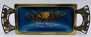 Old Israeli Brass Enameled Pedestal Fruit Bowl Hand-Painted Signed Tray Kitchen