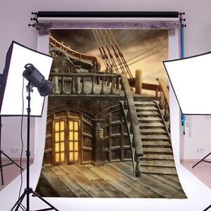 5x7FT Vinyl Retro Pirate Ship Photo Background Studio Photography Props Backdrop