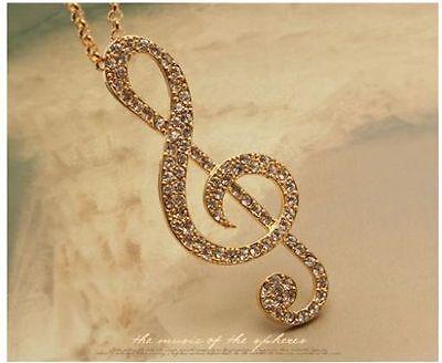 women Gold Music Note Rhythm Crystal Sweater Necklace Pendant korean fashion
