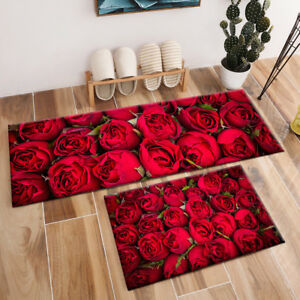 Details about Beautiful Red Roses Flowers Design Area Rugs Bedroom Rug  Living Room Floor Mat