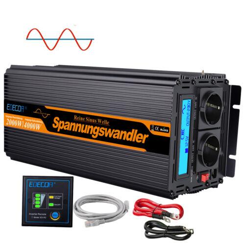 Inversor Onda Pura 2000W 4000 Watt 12V 220V 230V Convertidor Transformador LCD