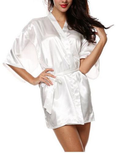 Women Plain Satin Robe Dressing Gown Bridal Wedding Bride Kimono robe