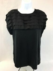 MNG-by-Mango-Women-039-s-Black-Solid-Pullover-Short-Sleeve-Ruffle-Top-Sz-M