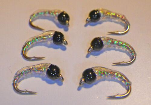 Black Tungsten Epoxy Zebra Midge #20-All Pearl-Fly Fishing Flies-Trout flies-Wet