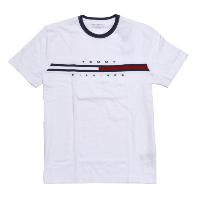 mens classic fit tommy hilfiger striped crew neck t shirt s m l xl 2xl white regular xs for sale