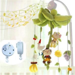 Rotary-Baby-Kids-Mobile-Crib-Bed-Toy-Clockwork-Movement-Music-Box-Bedding-White