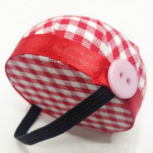 Plaid Grids Needle Sewing Pin Cushion Wrist Straps Tools Buttons Storages Holder