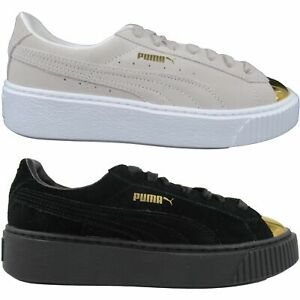 Details about Puma Women's Suede Platform Gold Toe Casual Sneakers Creeper