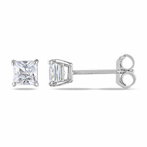 Amour 10k White Gold 1/2 Ct Created White Sapphire Solitaire Stud Earrings