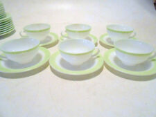 """6 Vintage PYREX LIME GREEN Band 8"""" Milk GLASS Coffee CUPS & SAUCERS Excellent!"""