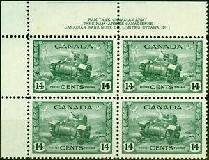 Kanada 1943 14c Matte Grün SG385 Super MNH Imprint Block Of 4