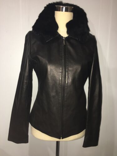nicolle miller Black Leather Short Jacket Sz.s