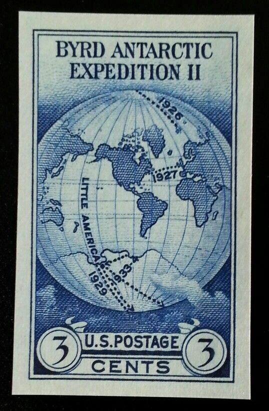 1934 3c Byrd, Imperforate Single Stamp issued without g
