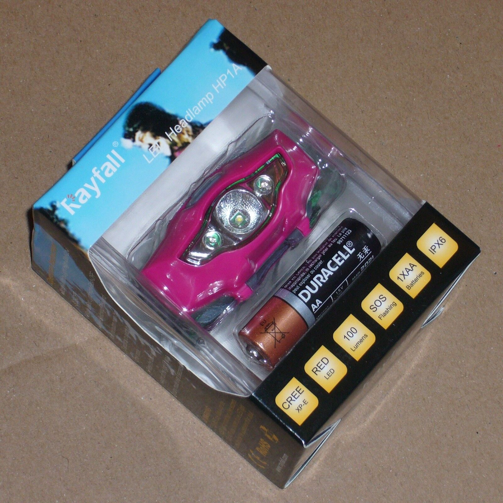 Running Head Torch, Ladies PINK, Super-Lightweight 35g, Super-Compact, Cree LED