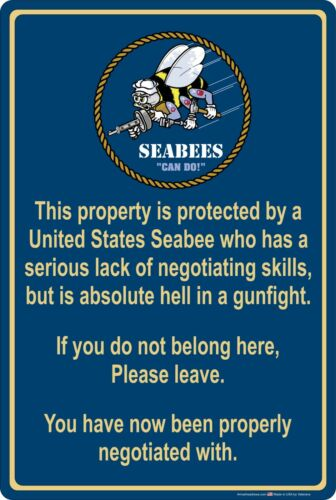 "Navy 8/"" x 12/"" Aluminum Metal Sign Property Protected by Seabee Sailor U.S"