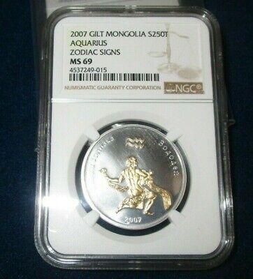 Mongolia 250 tugriks Aquarius Zodiac gilded silver 1//2 oz coin 2007