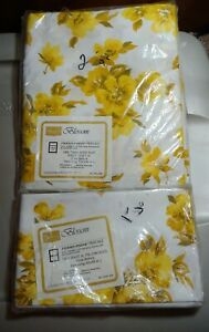 Sears-Roebuck-Perma-Prest-Parcale-Yellow-Blossom-Twin-Flat-sheet-two-pillow-cas