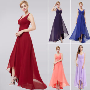 V-Neck-Rhinestones-Ruched-Bust-Hi-Lo-Evening-Party-Mother-of-the-Bride-Dress