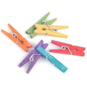 small mini wooden pegs mixed colours card making crafting bag of 50