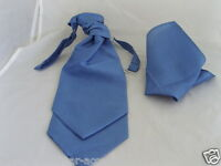 Grosgrain  Fabric Cornflower Blue MENS Ruche Wedding Tie-Cravat and Hankie Set