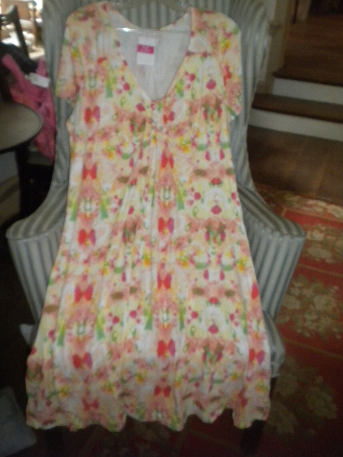 NWT FRESH PRODUCE S S  CALYPSO   PRINT EFFORTLESS DRESS-FLATTERING STYLE FIT(L)