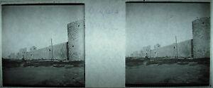 Plaque-photo-stereoscopique-photographie-Remparts-d-039-Aigues-Mortes-vers-1927