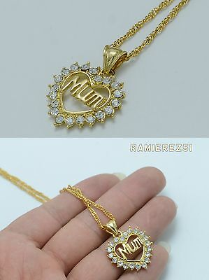 UK 18k Gold Filled Mum Heart Womens Necklace Pendant Chain Real Crystals 18inch