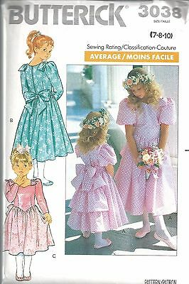 3038 Butterick SEWING Pattern Girls Fancy Dress Flower Girl Church Easter UNCUT