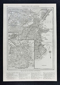 Boston Map Harvard.1917 Map Boston City Plan Commons Harvard Downtown Business