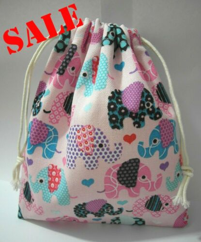 Cotton Canvas Drawstring Small Bag Storage Travel Packaging Pouch-Elephants2