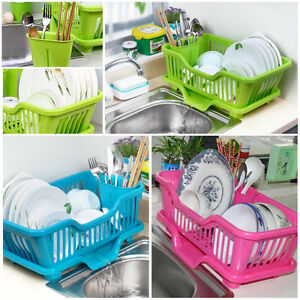 Kitchen Sink Dish Plate Drainer Drying Rack Washing Organizer Tray ...