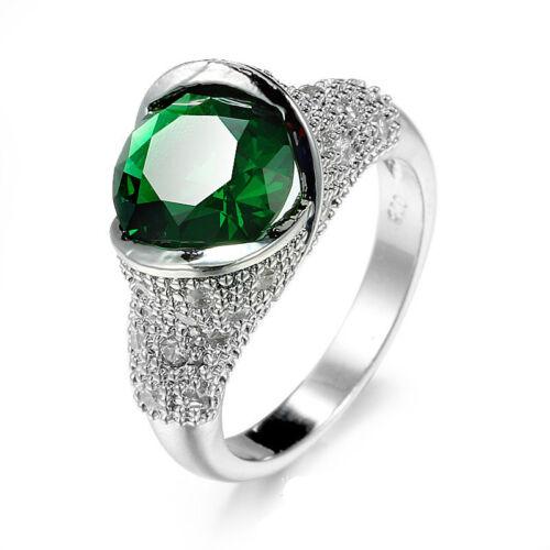 6mm*6mm vert émeraude blanc CZ Band Femme argent 925 cadeau de mariage Anneau SZ 6-10
