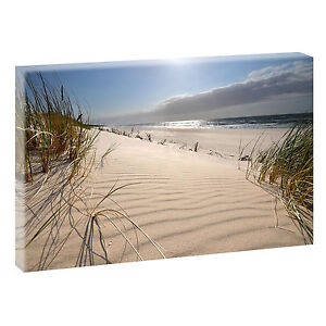 Wandbild-Bild-Strand-Meer-Duenen-Nordsee-Leinwand-Poster-XXL-120-cm-80-cm-619