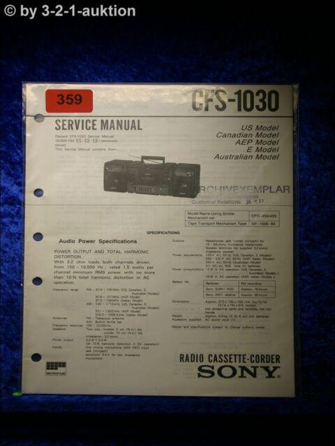 Sony Service Manual Cfs 1030 Cassette Corder   0359