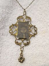 Photo under Glass - Mourning Lavaliere on Very Fine Long Gold Tone Chain