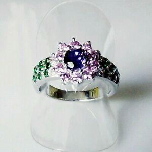 Handarbeit Top Blau Lila Saphir Tsavorit Cocktail Ring 925 Silber 18,1 mm 57