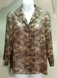 TanJay-Multi-Color-Animal-Print-Evening-Polyester-3-4-Sleeve-Top-Blouse-Size-S