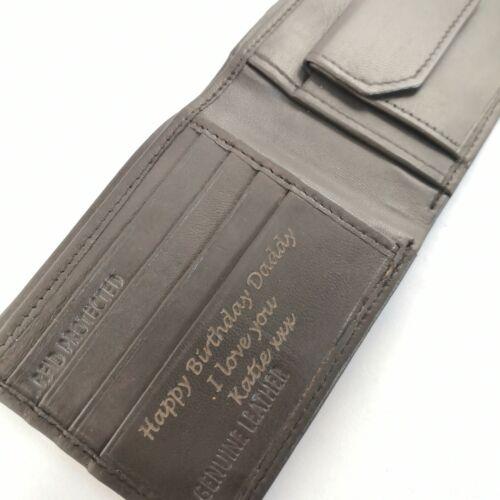 GIFT BOX Engraved Genuine Leather BLACK Personalised Wallet