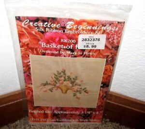 CREATIVE-BEGINNINGS-SILK-RIBBON-EMBROIDERY-034-BASKET-OF-ROSES-034-KIT-RK200-NIP