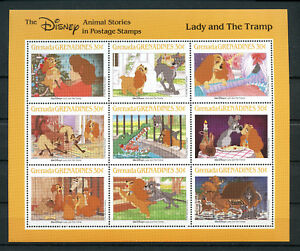 Lady-and-The-Tramp-sheet-of-9-stamps-mnh-1988-Grenada-Grenadines-990