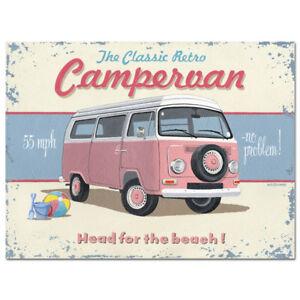 VW Campervan Sign Vintage German Volkswagen Car Garage Decor 12x16