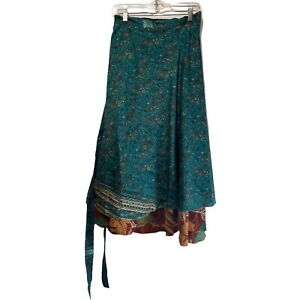 darn good yarn sari silk wrap reversible Floral Ankle Length skirt Size XL