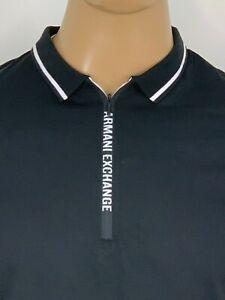 Armani-Exchange-Authentic-Signature-Zip-Logo-Polo-Shirt-Black-NWT