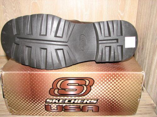 Skechers Men/'s Glenn Cinder Brown Leather Biker Motorcycle Boots SIZES NIB 62926