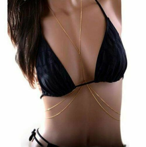 Impresionante vientre Body Collar Cadena de oro Cintura Bikini Playa Verano de cruce A001